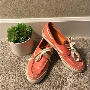 Peach colored Sperrys